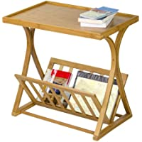 Corner Housewares Modern Rustic Bamboo Wood Living Room Side Table With Magazine Rack