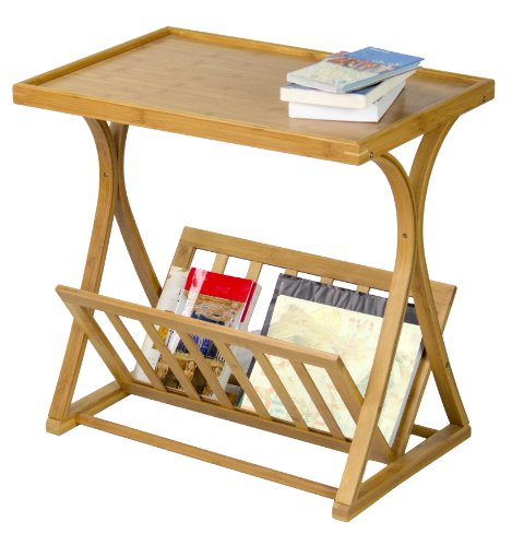 "SpaceMaster Corner Housewares Bamboo Magazine Side Table, One Size - SpaceMaster Space Saving Size: The Modern Bamboo Wood Side Table Measures 24.0"" L x 15.8"" W x 22.8"" H and Weighs Approx. 7.7 lbs. The Lamp Table Will Require Assembly Upon Delivery. Elegant and Rustic in Design. The Rustic Side Table Features A Beautiful Bamboo Wood Top and Frame. The Slender Base and Simple Wood Magazine Rack Adds a Subtle Touch of Elegance To Your Living Room. Durable and Convenient in Design: The Side Table Features A Thick Top and Strong Bamboo Wood Frame. The Wooden Magazine and Book Rack At the Bottom Lowers the Center of Gravity for Added Stability. - living-room-furniture, living-room, end-tables - 51qOCt98B0L -"