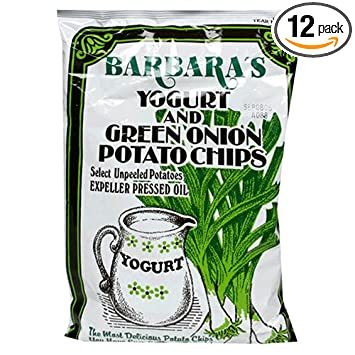 Barbara's Bakery Yogurt and Green Onion, Regular Potato Chips, 5.0-Ounce Bags (Pack of 12)