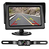 LeeKooLuu Backup Camera and Monitor Kit for Car/RV/Truck/Pickup/Van/Camper Waterproof Night Vision Rear View Camera Single Power Reverse/Continuous Use 4.3 Display Grid Lines