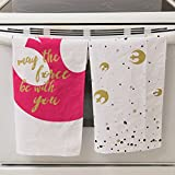 Star Wars Kitchen Towel 100% Cotton Set of 2 - Perfect Oven Door Hanging Hand Towels - May the Force Be with You Rebel Print - Cute Pinache Design, 18