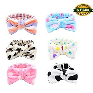 Bow Hair Band, Soft Carol Fleece Hairlace Headband Bowknot Bow Makeup for Washing Face Shower Spa Mask Valentine's Day Gift, Multiple Styles, 6 PCS