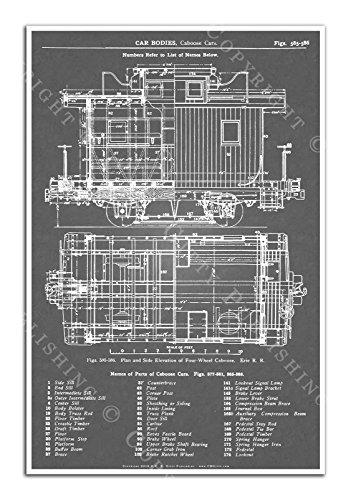(C. B. Gitty 1909 Erie Railroad 4-Wheel Trail Caboose Blueprint Poster (Gray))