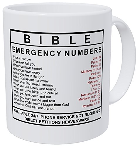 Wampumtuk Bible emergency Numbers 11 Ounces Funny Coffee Mug