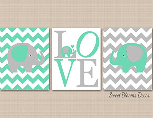 Mint Gray Elephant Nursery Wall Art Chevron Elephant Nursery Décor Elephant Baby Gift UNFRAMED 3 PRINTS (NOT CANVAS) - Tracking Mail Class First Ups