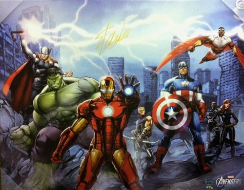 Stan Lee Autographed/Signed Avengers City Canvas 28x22 Stan Lee Hologram Marvel
