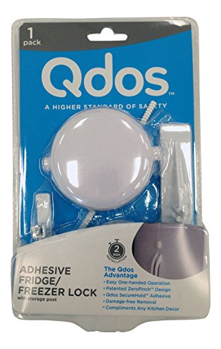 QDOS Adhesive Fridge/Freezer Lock | White - Contemporary Design - Keeps Kids Out - Safe Double Action Lock - Easy One-Handed Operation - Patented ZeroPinch Design - Simple Installation