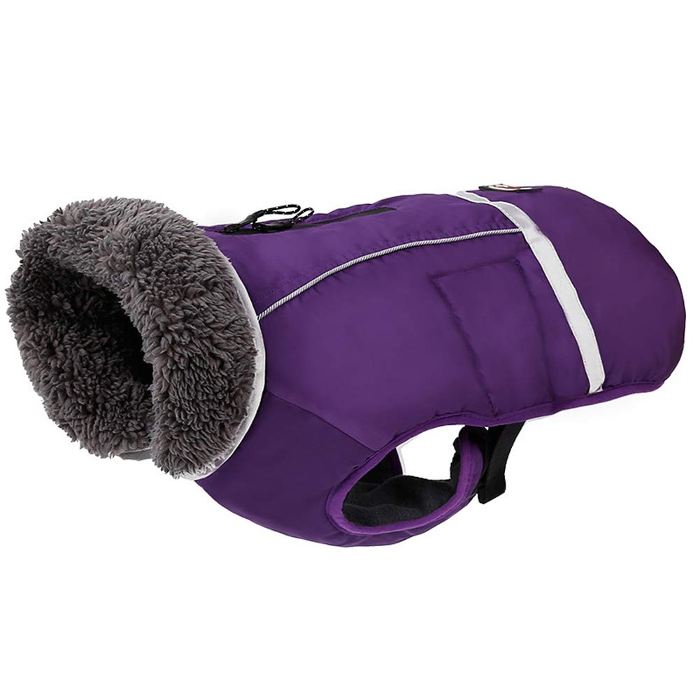 Purple M Back Length=13\ purple M Back Length=13\ QBLEEV Reflective Pet Dog Coat with Furry Collar,Cold Weather Jacket Vest Apparel for Puppies,Waterproof Windproof Clothes Soft Fleece Lining,Adjustable Buckle Closure,Zipping Hole for The Leash