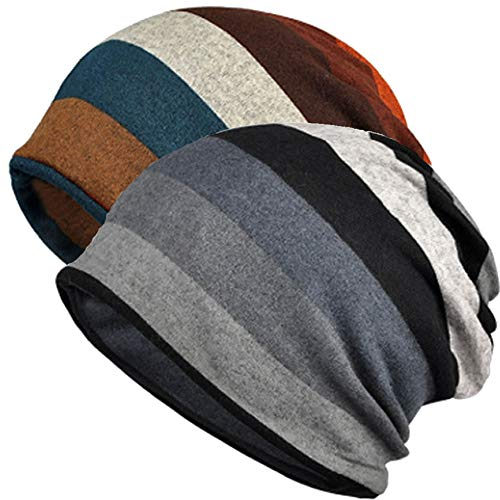 MuYiTai Women's Cotton Beanie Chemo Hats for Cancer Patients (2 Pack Wide Stripes)