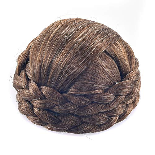 Synthetic Hair Chignon Bun Donut Braided Hairpieces Scrunchie Clip in Hair Bun Extensions Straight Updo for Wedding Party Costume Women Beauty 6Colors avilable (Light Brown)