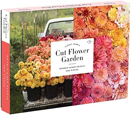 Galison Floret Farm's Cut Flower Garden 500 Piece Double Sided Jigsaw Puzzle, Fun and Challenging Puzzle with Close Up of Colorful Flowers on One Side and Vintage Truck Filled with Flowers on Other