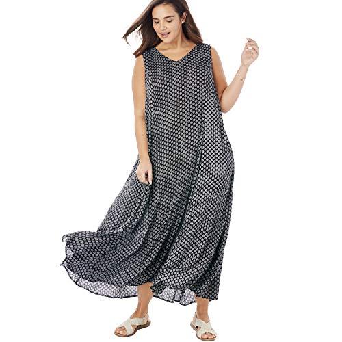 Woman Within Women's Plus Size Sleeveless Crinkle A-Line Dress - Black Dot Geo, M
