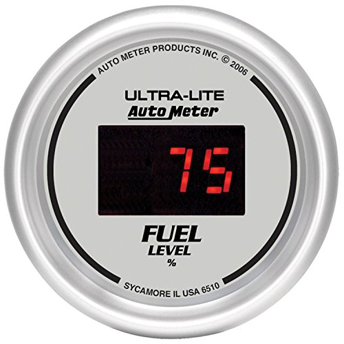 "Auto Meter 6510 Ultra-Lite Digital 2-1/16"" 0-280 ohm Digital Fuel Level Programmable Empty - Full Range Gauge"
