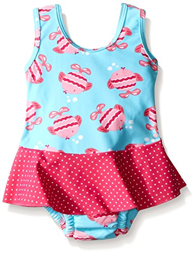 i play. Baby Girls' Skirt Tanksuit with Built-In Swim Diaper, Aqua Fish, 6 Months