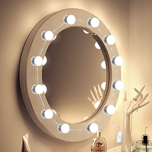 Classic Mirror Adjustable (Vanity Mirror Lights 2018 UPGRADED 7000K Hollywood Style LED Makeup Mirror Lights Kit 12 Hidden Adjustable Length Makeup Lamps Lighting Fixture Strip with Dimmable Light Bulbs (Mirror Not Included))