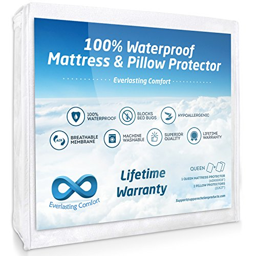 Breathable Membrane - Everlasting Comfort Queen Size 100% Waterproof Mattress Protector and 2 Free Pillow Protectors by Complete Set, Hypoallergenic, Breathable Membrane