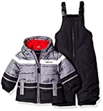 London Fog Baby Boys 2-Piece Snow Pant & Jacket Snowsuit, Black Print/red pop, 18M