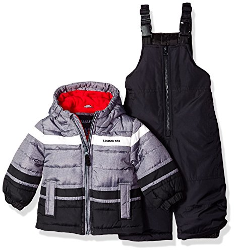 London Fog Baby Boys 2-Piece Snow Pant & Jacket Snowsuit, Black Print/red pop, 24M