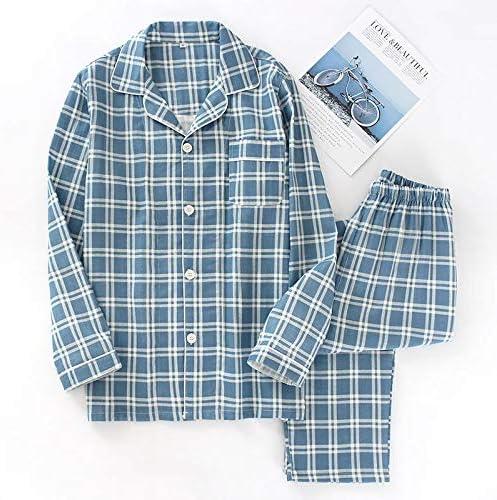 パジャマ メンズ MUMUWU パジャマは男性Pijamaやつ100%ガーゼコットンカジュアル男性長袖コージーセクシーな夏のパジャマ男性を設定します。 (Color : スカイブルー, Size : L)