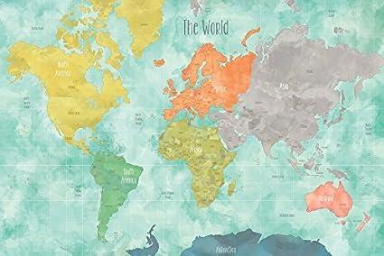 Amazon.com: Wall Pops DWPK1829 Aquarelle World Map Decal by Wall ...