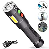 MCCC Safety Self Defense working LED Flashlight with 125dB Personal Audible Alarm for Emergency, Ultra Bright 600 Lumens torch light with power bank 1x18650 Rechargeable Battery Included
