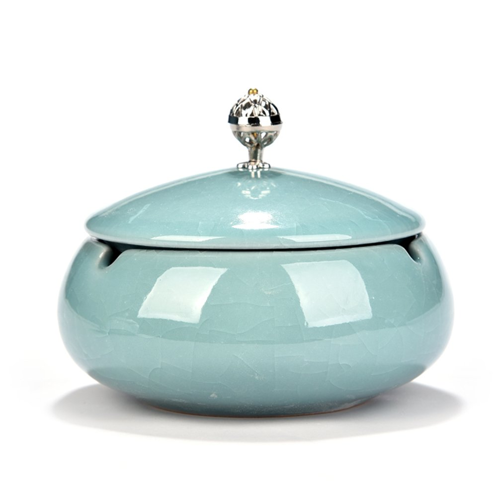 Huayoung Ceramic Round Ashtray with Lid Beautiful Cigar Ashtray for Home & Office (Blue-B)