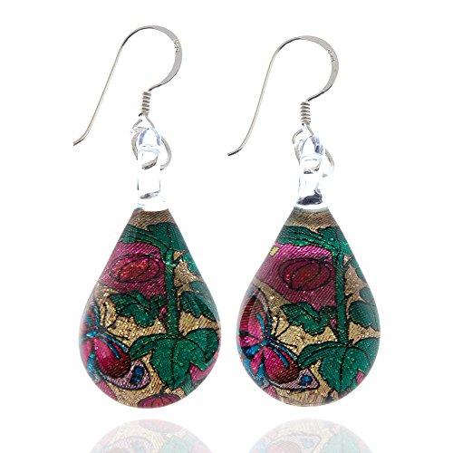 925 Sterling Silver Hand Blown Venetian Murano Glass Glitter Butterfly Rose Flower Dangle -