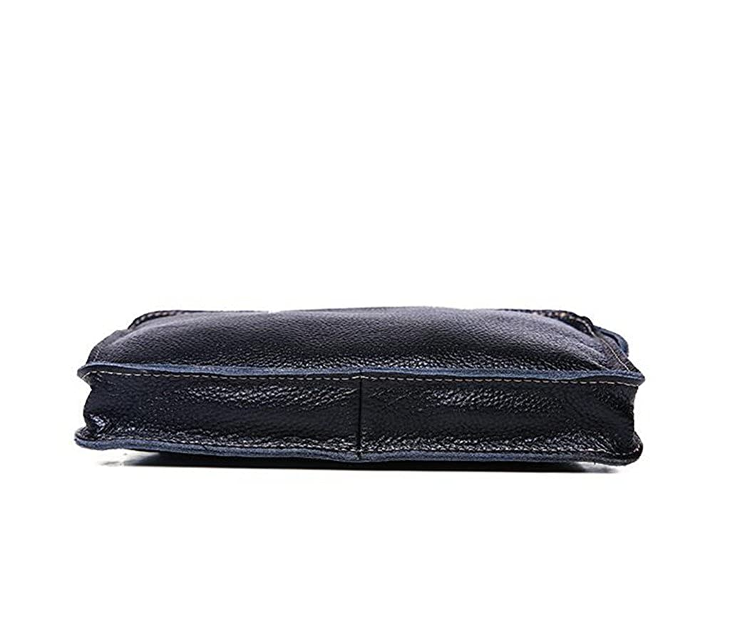 Leather Man Bag Mens Messenger Shoulder Bag Mobile Phone Belt Pouch with Top Handle 30x3.8x22cm