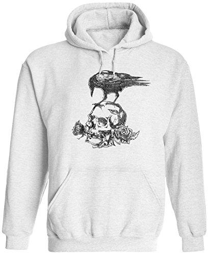 Austin Ink Apparel Unisex Mens Skull Roses Crow Tattoo Pullover Hooded Sweatshirt (White, 2XL) ()