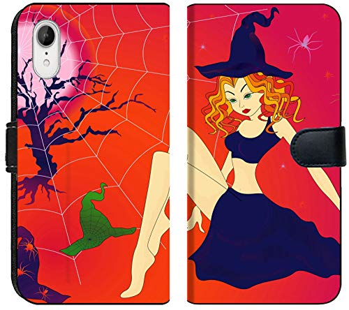 Liili Premium iPhone XR Flip Micro Fabric Wallet Case Image ID 32883701 Elegant Halloween Girl with Green Eyes Among Sinister Cobwebs and Spiders in Moonlight ni -