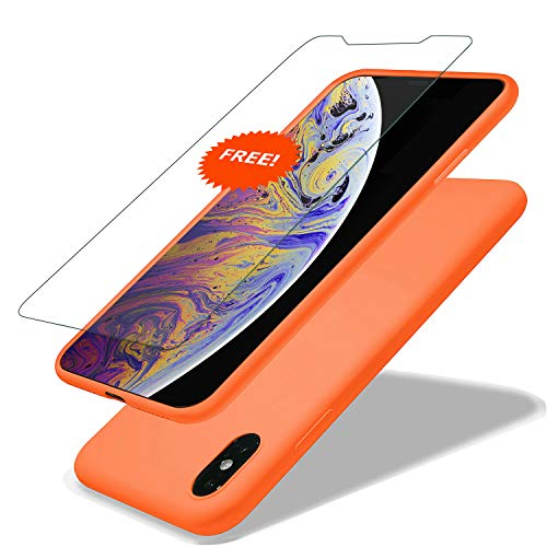 - GARLEX-iPhone Xs Max Silicone Case, Ultra Thin Liquid Gel Rubber Phone Cover Case with Hybrid Protection Compatible with iPhone Xs Max 6.5 Inch (2018), Orange