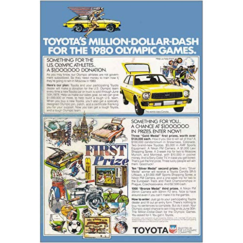 1978 Toyota: Million Dollar Dash 1980 Olympic Games, Toyota Print Ad