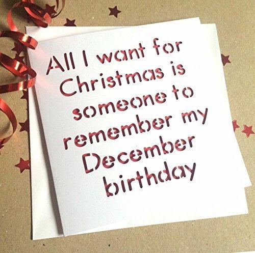 Funny December Birthday Christmas Card Amazon Handmade