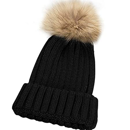 48f46b2d Pingenaneer Women's Wool Hats Winter Hand Knit Pompoms Beanie Hat (Black):  Amazon.co.uk: Kitchen & Home