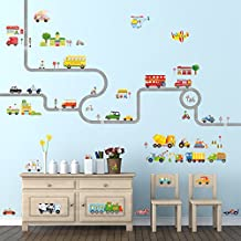 Decowall, DM-1404P1405, The Road and Cars Large and The Transports peel & stick Nursery wall decals stickers