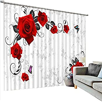 Newrara Red Roses and Butterfly Printing Blackout 3D Curtains 2 Panels for Living Room&Bedroom,Free Hook Included (White, 80