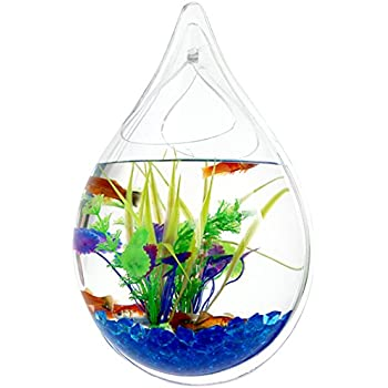 Outgeek Wall Hanging Fish Bubble Wall Plants Tank Water Drop Type Flower Pot 9.4in