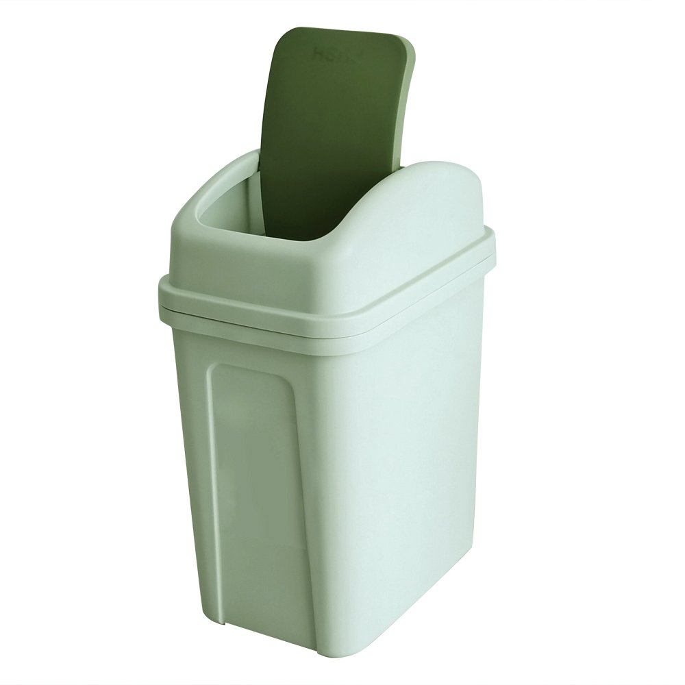 Teyyvn 7 Liter / 1.8 Gallon Plastic Trash Can, Small Garbage Can with Swing Lid (Green)
