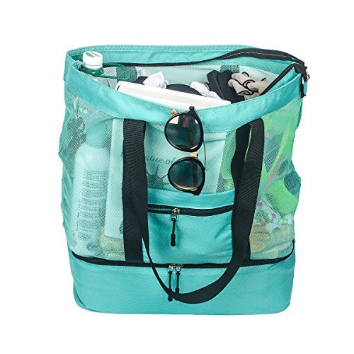 Fency Beach Bag Mesh 2-in-1 Tote Drinking Cooler Family Shoulder Handbag Zipper (Green)