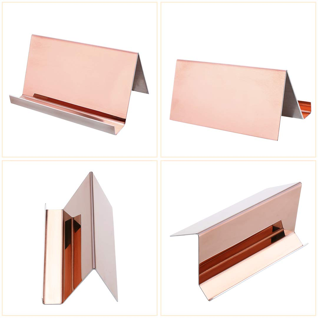 2 Pack Desktop Business Card Holder for Office Desk Name Card Display Rack Organizer Stainless Steel by WUYASTA (Image #7)
