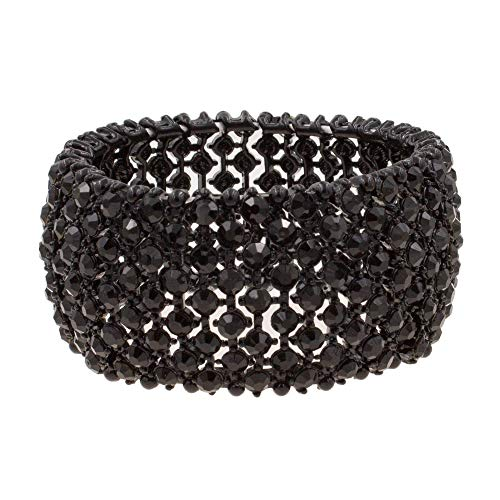 - Lavencious Tennis Rhinestone Stretch Bracelets Adjustable Jewelry Party for Woman Bangle (Jet Black)