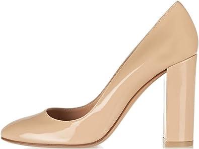 Amazon.com | Sammitop Women's Round Toe Patent High Block Heel Pumps Chunky  Heels Office Dress Shoes | Pumps