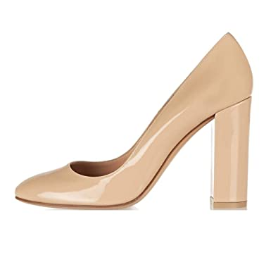 e5369702ab5 Sammitop Women s Round Toe Block Heel Pumps Chunky Heel Dress Shoes  Babypink US5