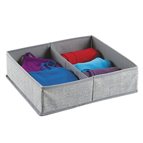mDesign Aufbewahrungsbox aus Stoff für Kommodenschubladen, für Unterwäsche, Socken, BHs, Strumpfhosen, Leggings - 2 Fächer, Grau