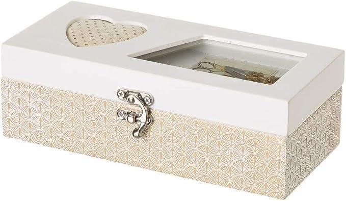 Costurero Caja de Madera Blanco romántico para salón Vitta - LOLAhome: Amazon.es: Hogar