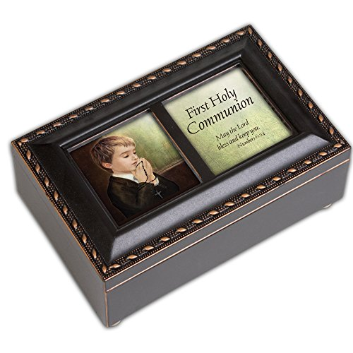 First Holy Communion Boy Small Black with Gold Trim Rosary Music Box Plays Handel's Hallelujah