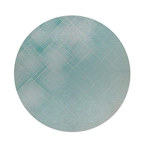 (iPrint Cotton Linen Round Tablecloth,Aqua,Abstract Transparent Rhombus Rectangular Geometrical Lines Image Decorative,Blue Light Blue and Turquoise,Dining Room Kitchen Table Cloth Cover)