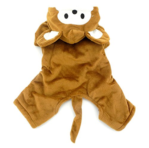 SMALLLEE_LUCKY_STORE Small Dog/Cat Halloween Fleece Monkey Costume with Hood Jacket Coat, Brown, Medium