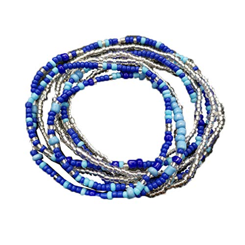 Althrorry Waist Beads Body Jewelry, Colorful Belly Beads, Bead Jewelry, Belly Chains, Waist Chain (2 Piece) (Blue)