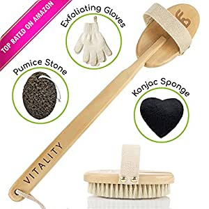 ZEN ME Dry Brushing Body Brush - Best Exfoliation Brush Set - with Exfoliating Gloves, Konjac Sponge, Pumice Stone, Back Scrubber with Natural Bristles - Great for Circulation, Skin Beauty & Health